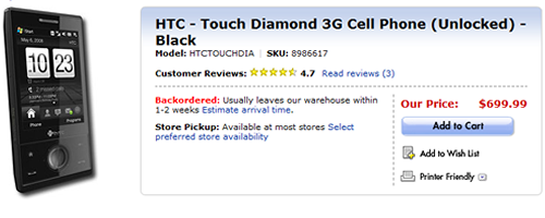 HTC Touch Diamond now available at Best Buy
