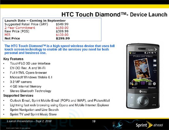 Sprint HTC Touch Diamond Ready for September Launch