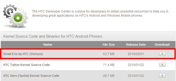 Source code for HTC's DROId Eris released to developers