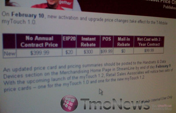 myTouch 3G reduced price