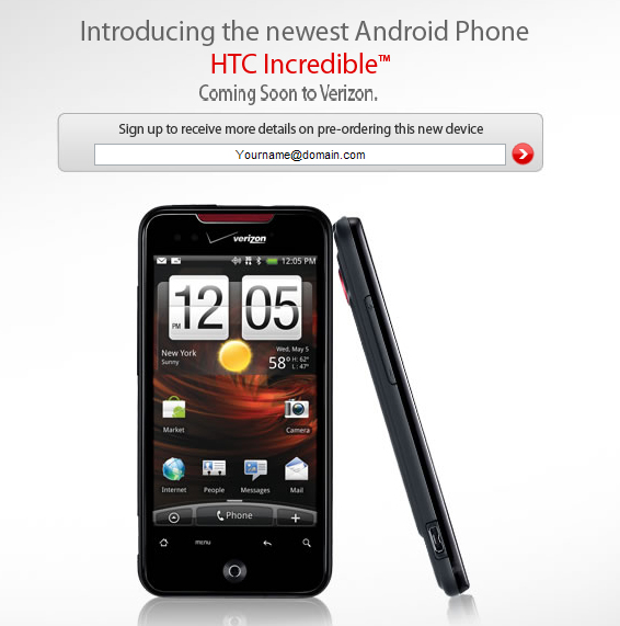 UPDATE: HTC Incredible splash page goes up on Verizon's website