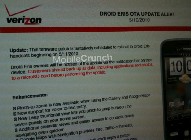 DROID Eris update scheduled to roll out May 11th