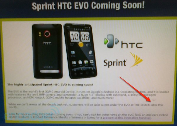 Sprint HTC EVO 4G pre-orders hitting THE SHACK later this month