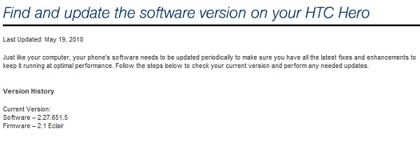 Android 2.1 for Sprint HTC Hero now official, just missing the download link