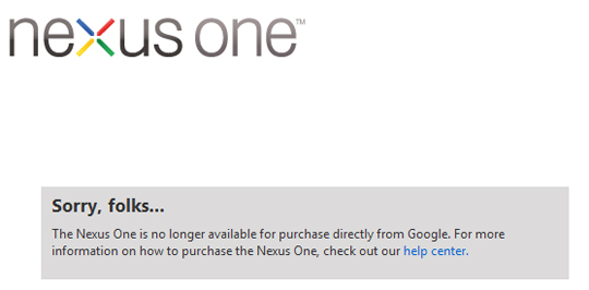 Final shipment of the Nexus One sold out on Google's Phone Store