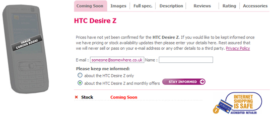 HTC Vision heading to Europe as the HTC Desire Z