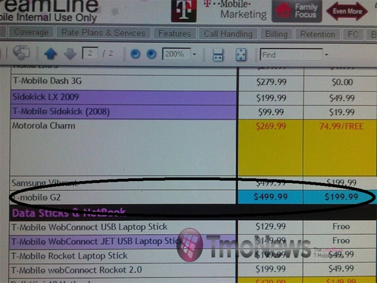 T-Mobile G2_pricings