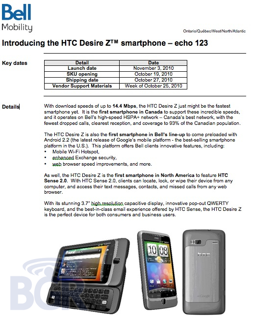 HTC Desire Z heading to Bell Canada the first week of November