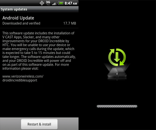 Verizon DROID Incredible OTA update commences