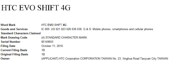 HTC EVO Shift 4G trademark application