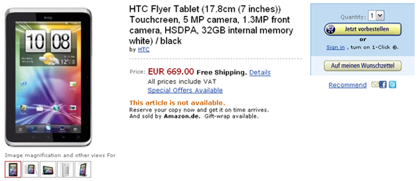 HTC Flyer Price