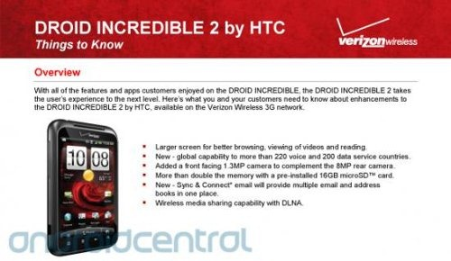 Verizon leaks the Droid Incredible 2!