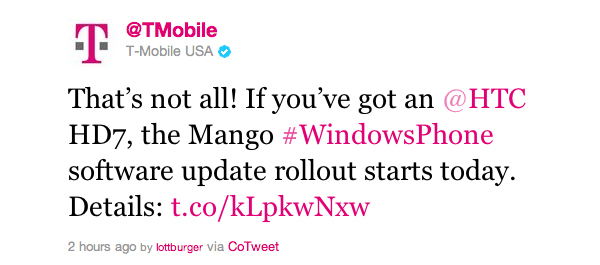T-Mobile HTC HD7 Windows Phone 7.5 Mango update now available