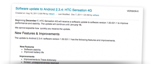 Android 2.3.4 bug fix update for the HTC Sensation 4G now available