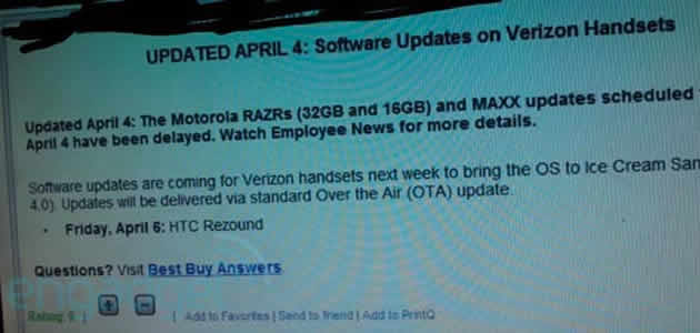 HTC Rezound Android 4.0 update expected to roll out today