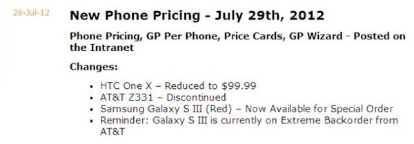 AT&T to drop price of HTC One X to $99.99 on July 29th