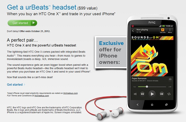 Trade up your iPhone for the HTC One X and get a pair of urBeats headphones
