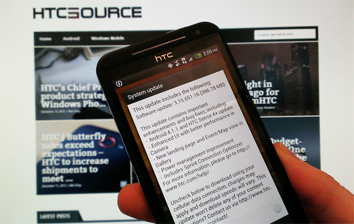 HTC EVO 4G LTE Android 4.1 update now available