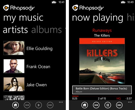 Rhapsody updates Windows Phone app, offline support now included