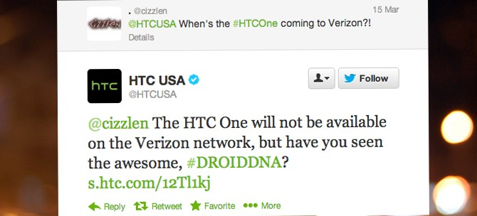 HTC states HTC One 'will not be available on the Verizon network'