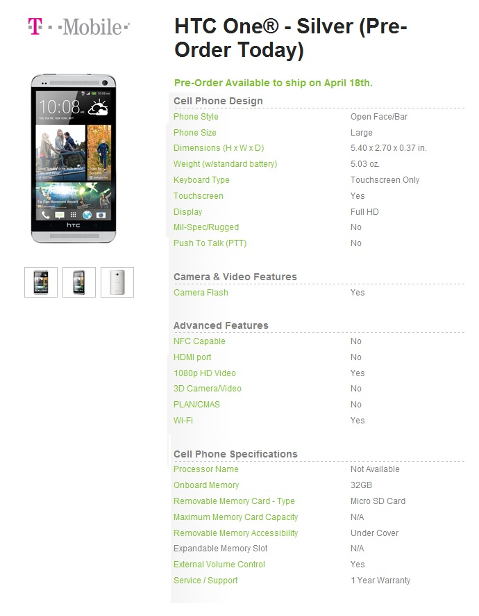 HTC One Details (t-mobile)