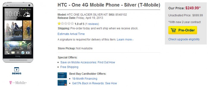 Best Buy now accepting pre-orders for the HTC One for Sprint, AT&T and T-Mobile