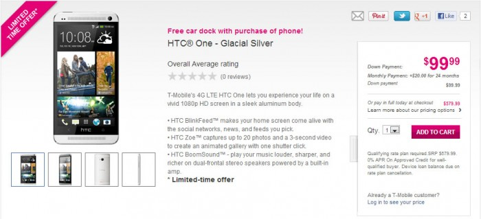 T-Mobile finally starts accepting pre-orders for the HTC One