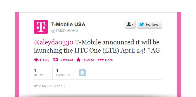 T-Mobile HTC One heading to select stores on April 24th