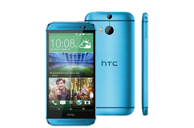 The HTC One (M8) color pallet expands with an Aqua Blue option