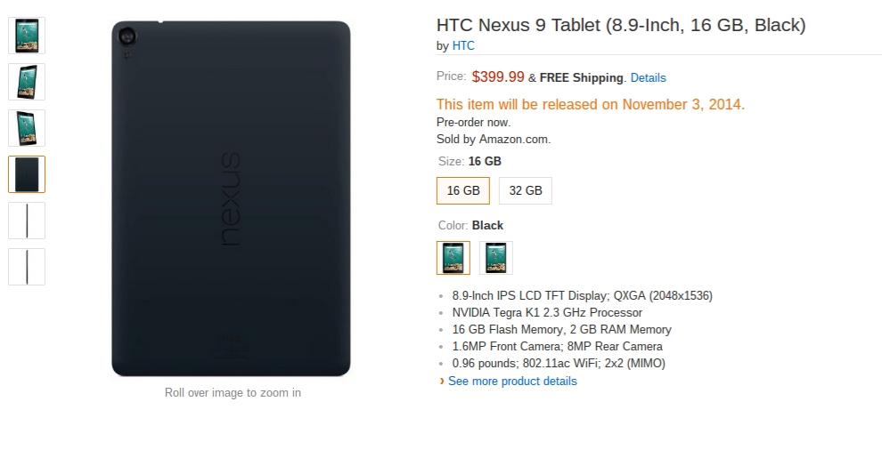 Nexus 9 on Amazon