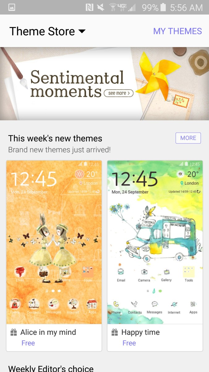 Samsung Theme homepage facelift