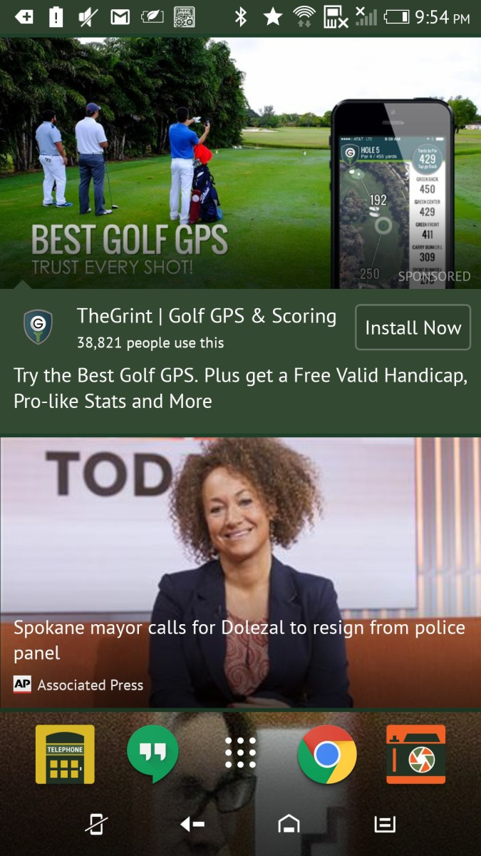 BlinkFeed Golf Ad Sense Home