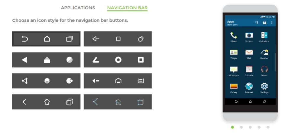 HTC Theme Navigation Buttons