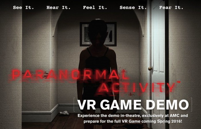 Paranormal Activity VR game HTC Vive demo at select movie theaters this weekend