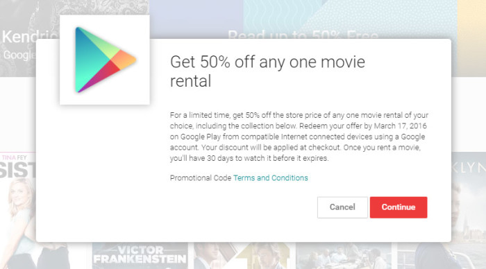 Google Play promotion offering 50% off one movie rental